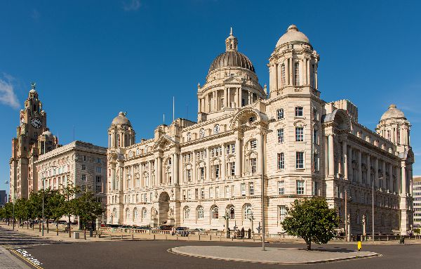 Three Graces, Pier Head, Liverpool. Royal Liver Building, Cunard Building Port of Liverpool Building